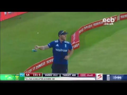 Sensational Ben Stokes catch off AB de Villiers