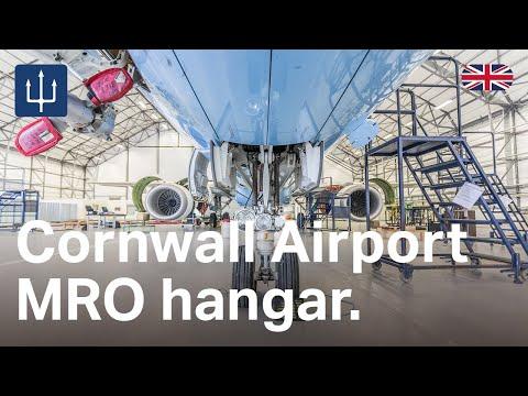 Maintenance, repair & overhaul aircraft hangar at Newquay Cornwall Airport