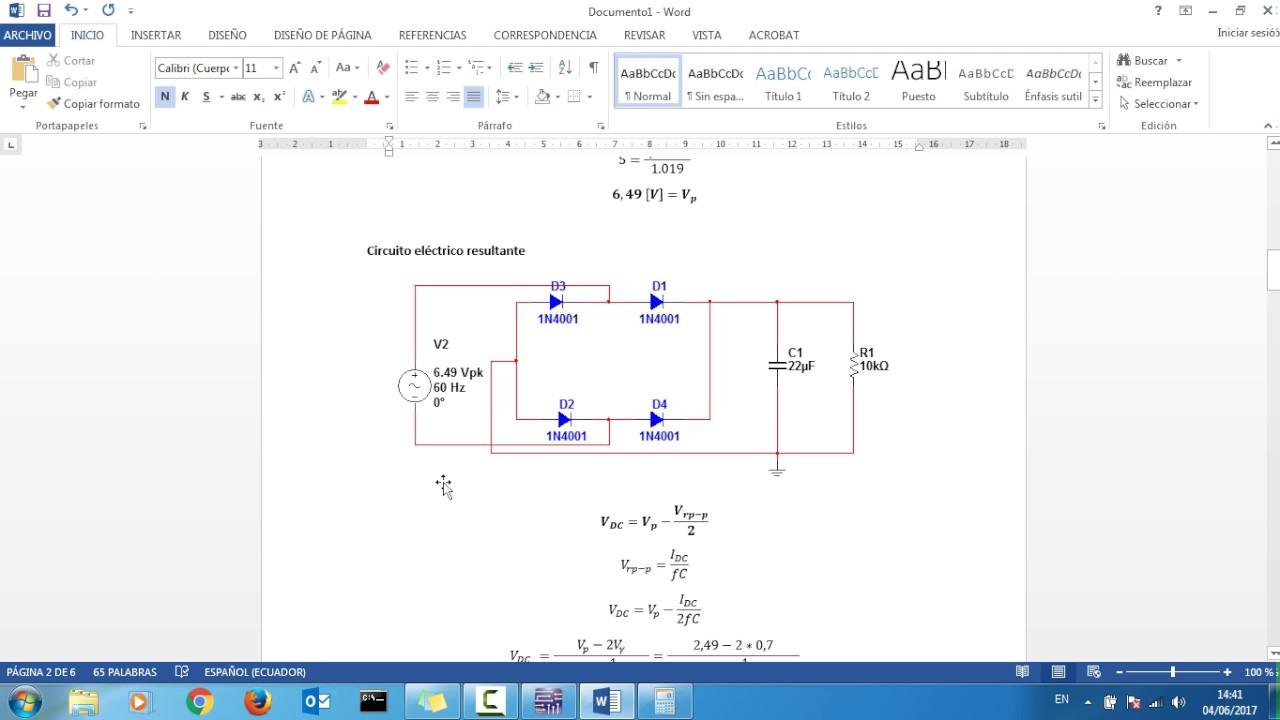 Circuito Onda : Practica diodo en media onda y onda completa con distintas