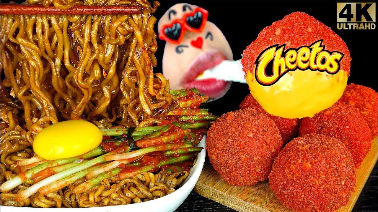 ASMR MUKBANG Cheetos cheese balls, Black bean Noodles, Kimchi EATING SOUNDS (4K)
