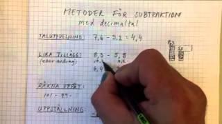 Metoder subtraktion decimaltal