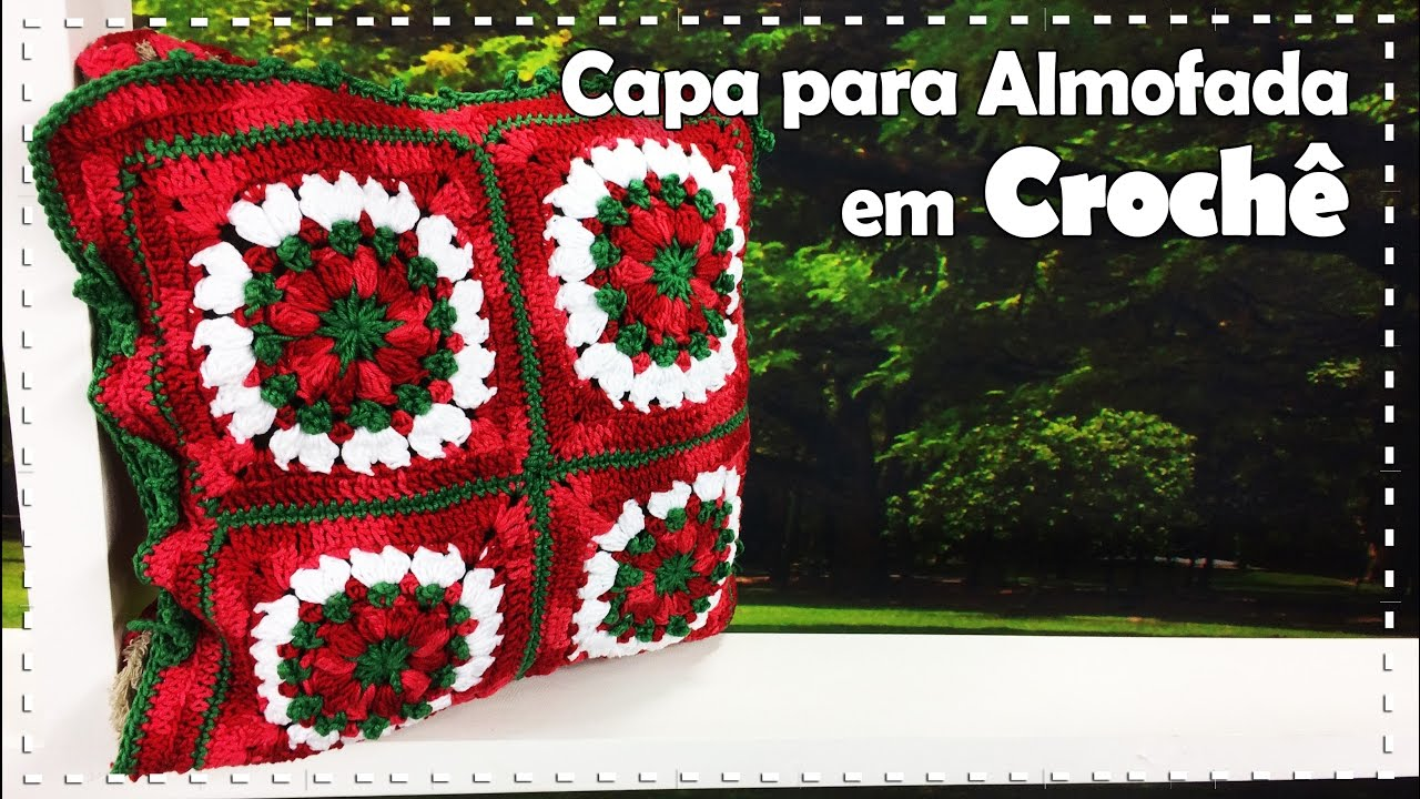 155c99c06d9409 CAPA PARA ALMOFADA NATALINA EM CROCHÊ com Simoni Figueiredo - Programa Arte  Brasil - 31/10/2016