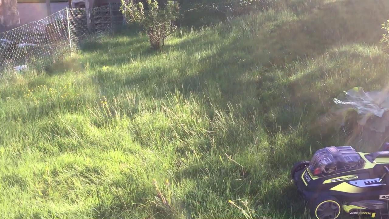 Ryobi batteridrivna gräsklippare slår hö :) - YouTube