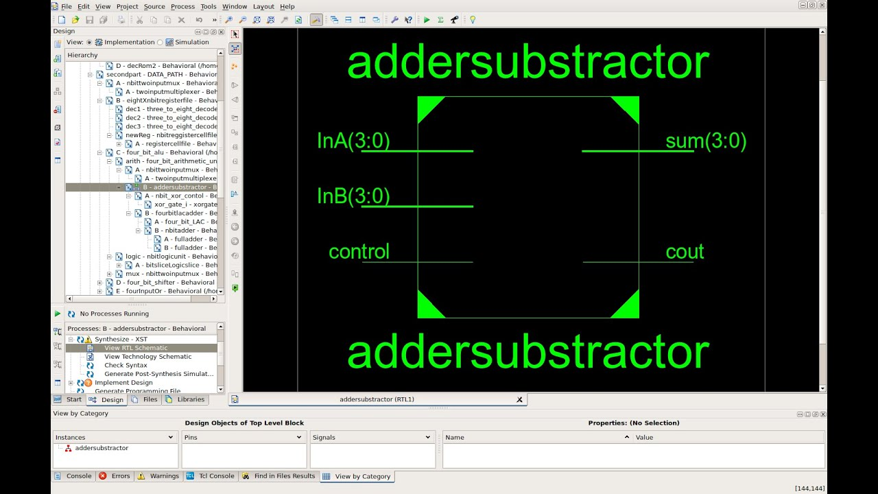 Vhdl 4 Bit Adder Substractor Structural Design Code Test In Circuit Logic Diagram And Bench Xilinx