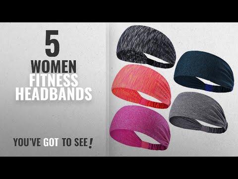 Top 10 Women Fitness Headbands [2018]: 5PCS Sweatbands Sports Headbands Wicking Stretchy Head Wrap