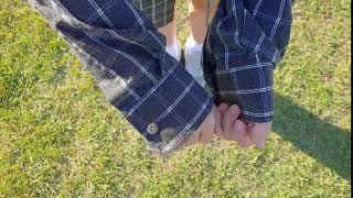 루즈핏 시밀러 남녀공용 포켓 체크 남방 셔츠