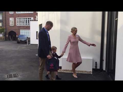 Prince George arrives for his first day at school