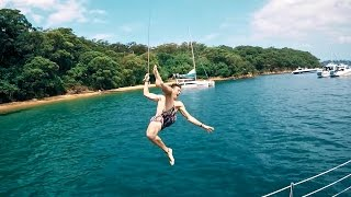 ROPE SWING FROM YACHT