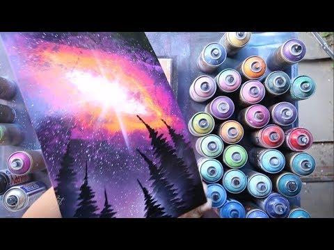Nebula above forest  GLOW IN DARK - SPRAY PAINT ART by Skech - Популярные видеоролики!