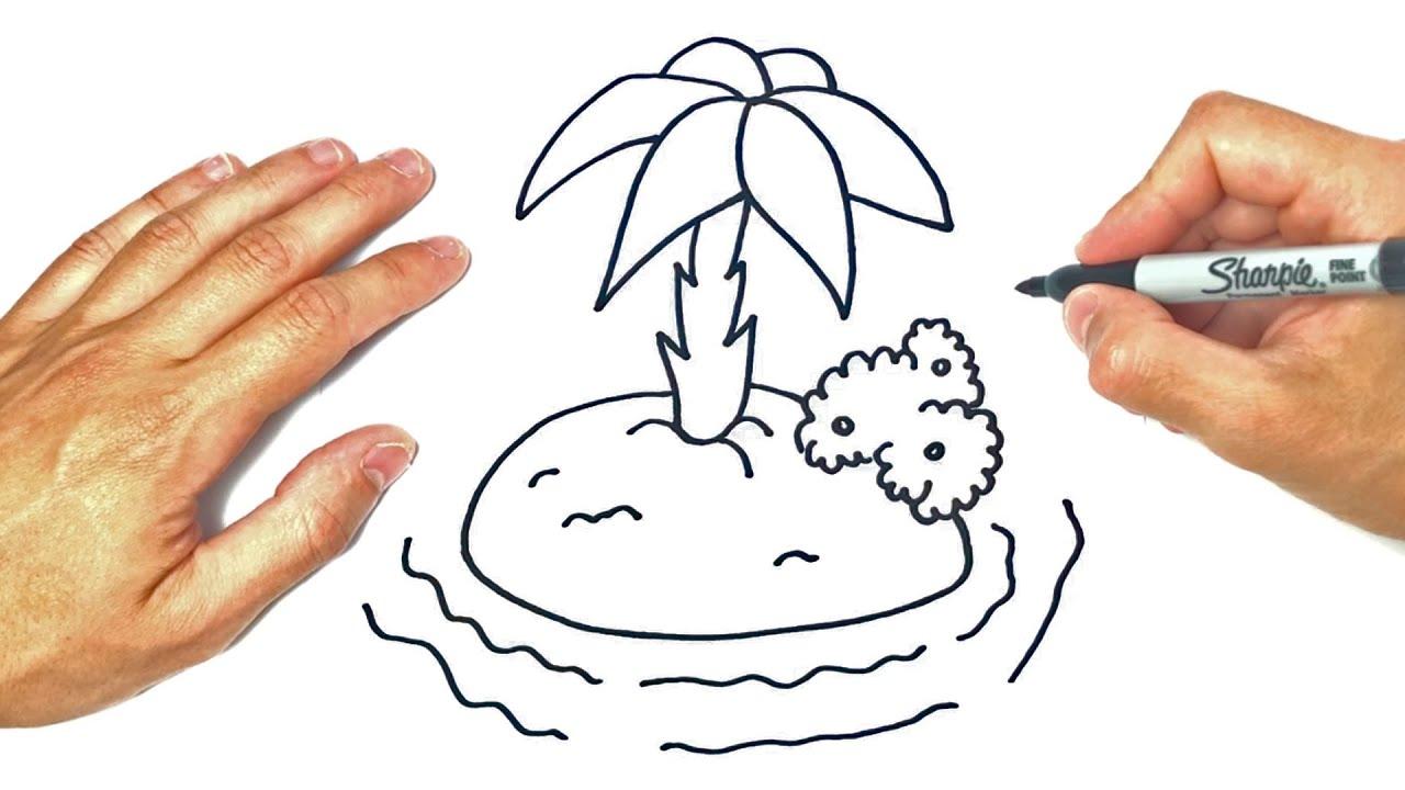 Cómo dibujar un Isla | Dibujo de Isla