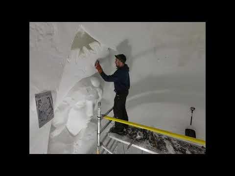 Timelapse of lad carving big sculpture in Kirkenes Snow-hotel, Norway   CONTENTbible
