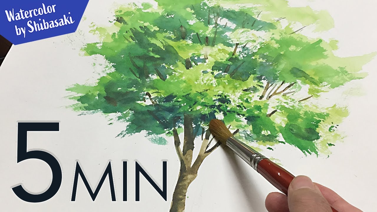 Eng Sub 5min Easy Watercolor Tree Painting Tutorial