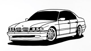 How to draw Bmw Car step by step    Araba çizimi Bmw #2
