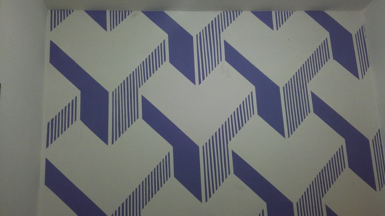 Pintura de parede geometrica 3d em y youtube for Pintura decorativa efeito 3d