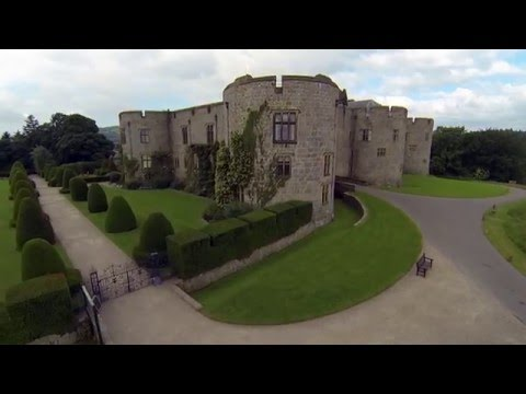 Skyeye aerial footage of Chirk Castle National trust property located near the Wales/England boarder