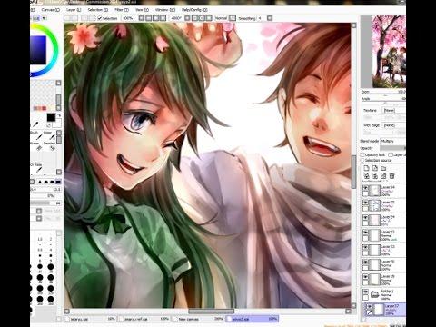 Anime Manga Couple Painting On Paint Tool SAI