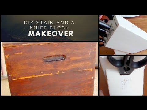 DIY Stain and a Knife Block Makeover