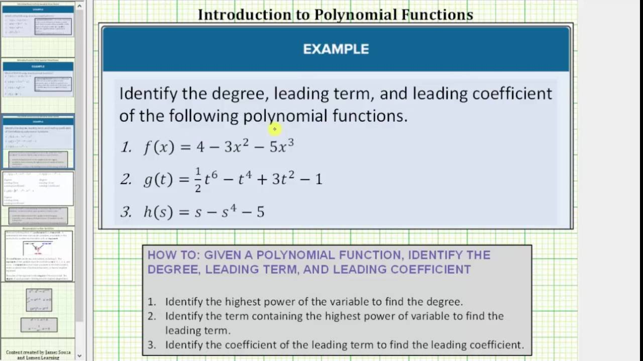 degree leading term and leading coefficient of a polynomial