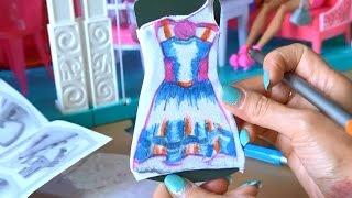 Видео с куклами Барби Раскрашиваем новое платье своими руками с помощью набора Barbie fashion design