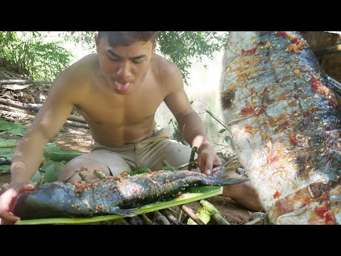 Grilled Fish On Bamboo - Grilled Fish | Spicy Grilled Fish | Pan Grilled Fish | Grill Fish Recipe