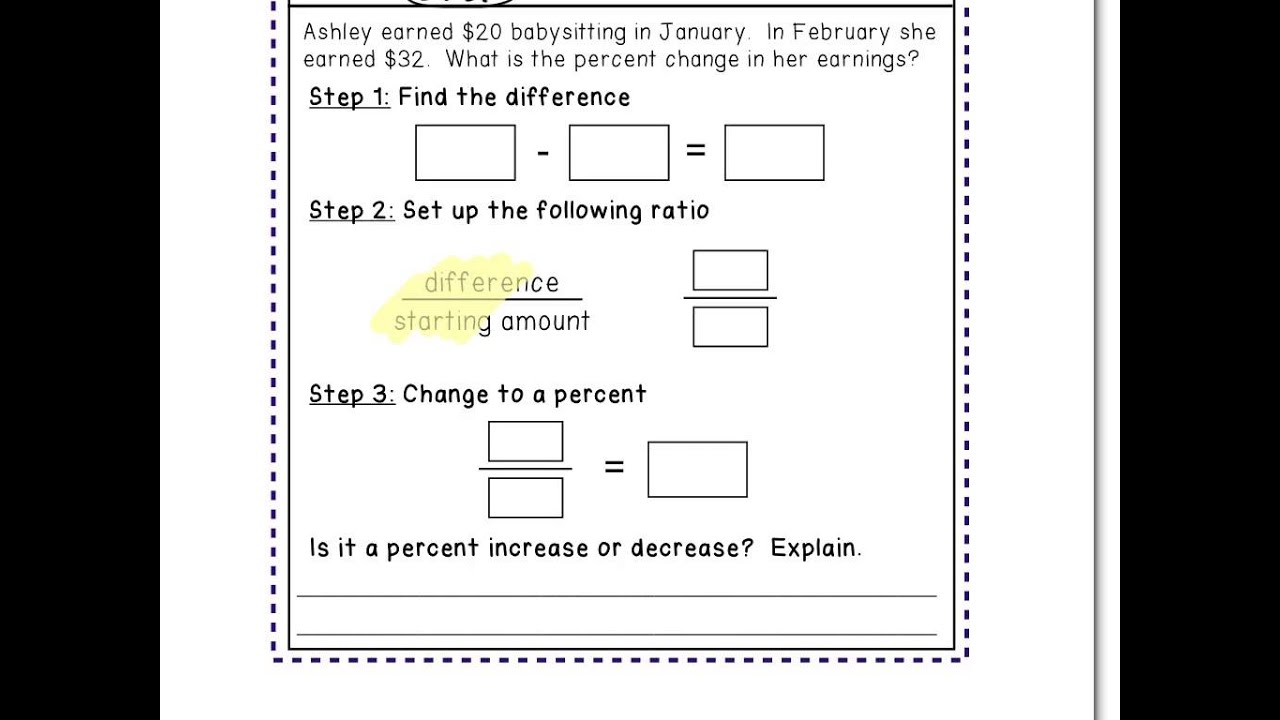 Worksheet Percent Increase And Decrease Word Problems