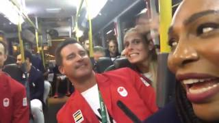 Serena Williams Makes Friends with Canadians on Olympic Bus