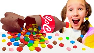 Emi and Niki Chocolate & Soda Challenge for Dad