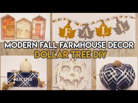 MODERN FALL FARMHOUSE DECOR / DOLLAR TREE DIY