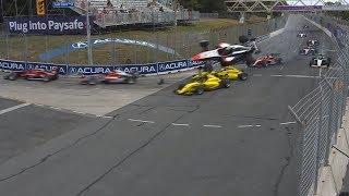 Pro Mazda Championship 2018. Race 1 Grand Prix of Toronto. Start | Huge Airborne Crash (all angles)