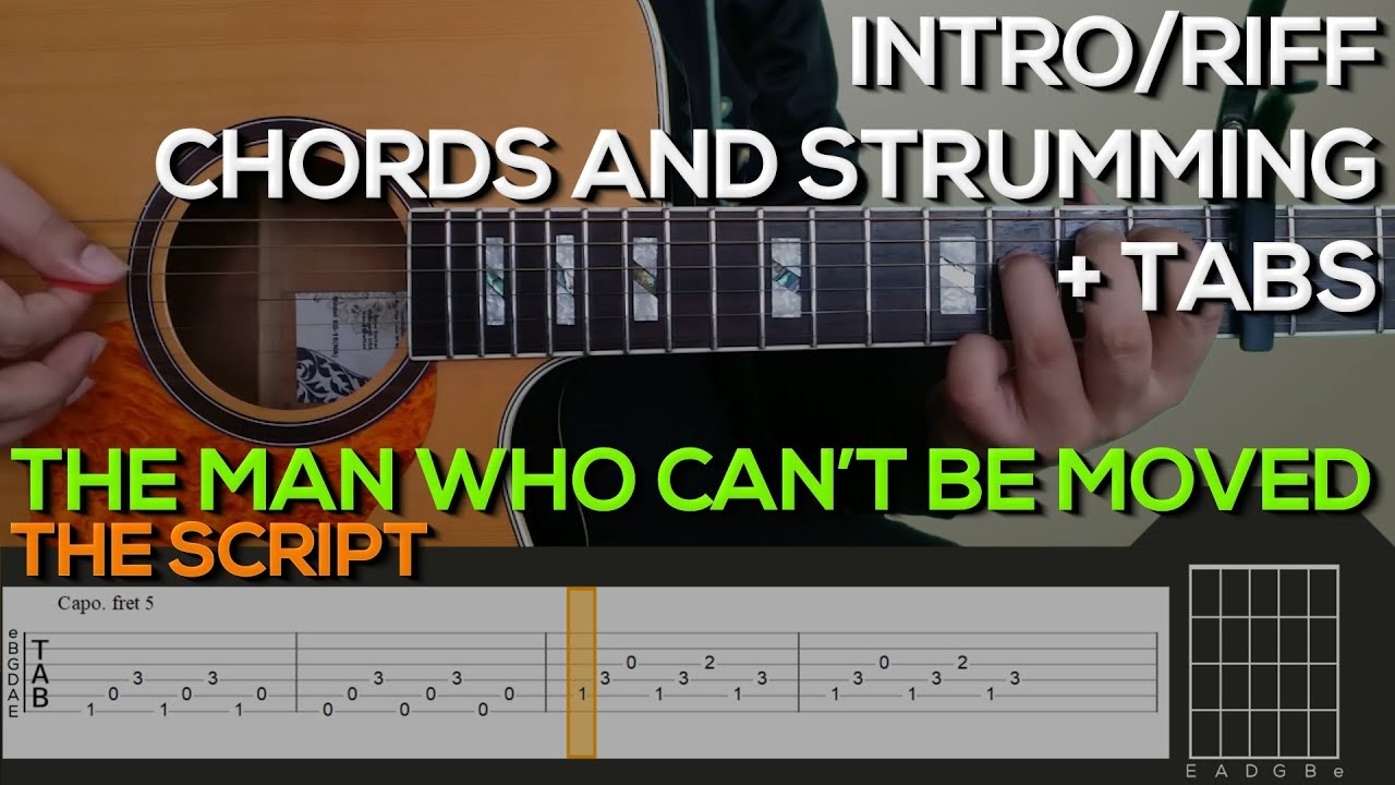 The Script The Man Who Cant Be Moved Guitar Tutorial Introriff Chords And Strumming Tabs