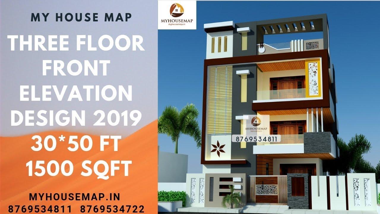 Three Floor Front Elevation Design 2019 30 50 Ft 1500 Sqft