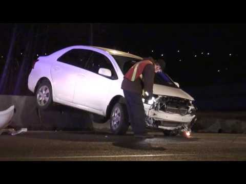 RCMP Police Pursuit Vehicle Crashed Into Cement Meridian Coquitlam