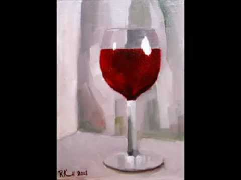 Painting of a glass of red wine youtube for Can i paint glass with acrylic paint