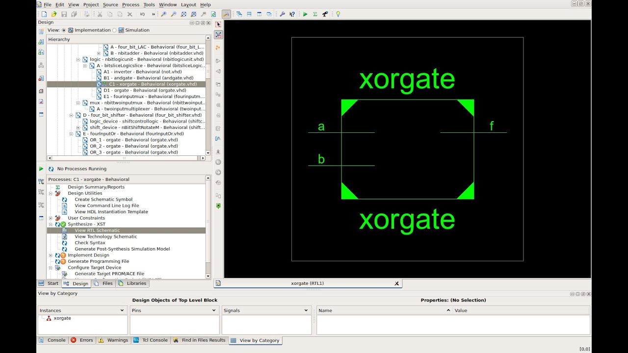 Vhdl xor gate tutorial code test on development board and test bench ise design suite xilinx