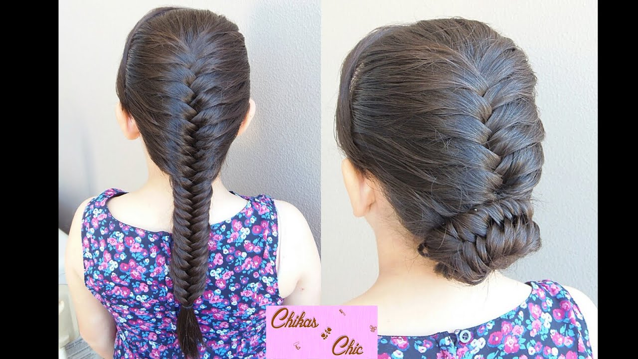 French Fishtail Braid Updo 2 Options Bun Hairstyles