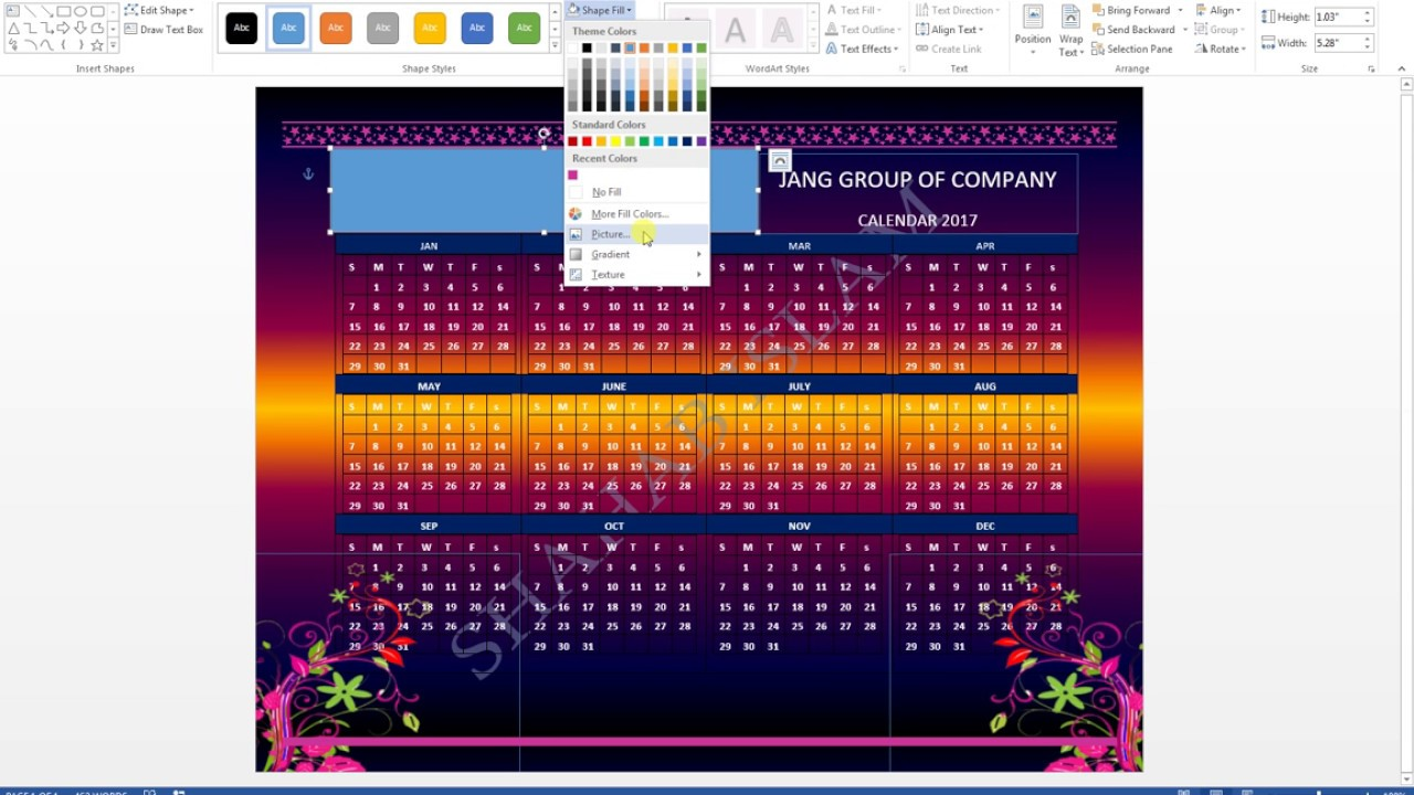how to make a calender on microsoft word