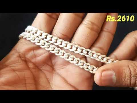 Silver Chain For Men   Silver Chain Design For Mens With Price   Silver Bracelet Design For Mens