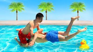 vuclip WWE MOVES IN THE POOL