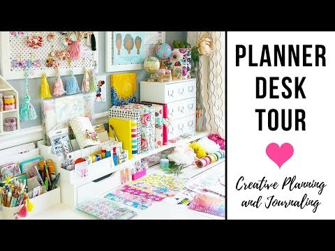 Planner Desk Tour | Ikea Desk, Alex Drawers | Craft Desk Organization, Cork Board, Supply Organizing