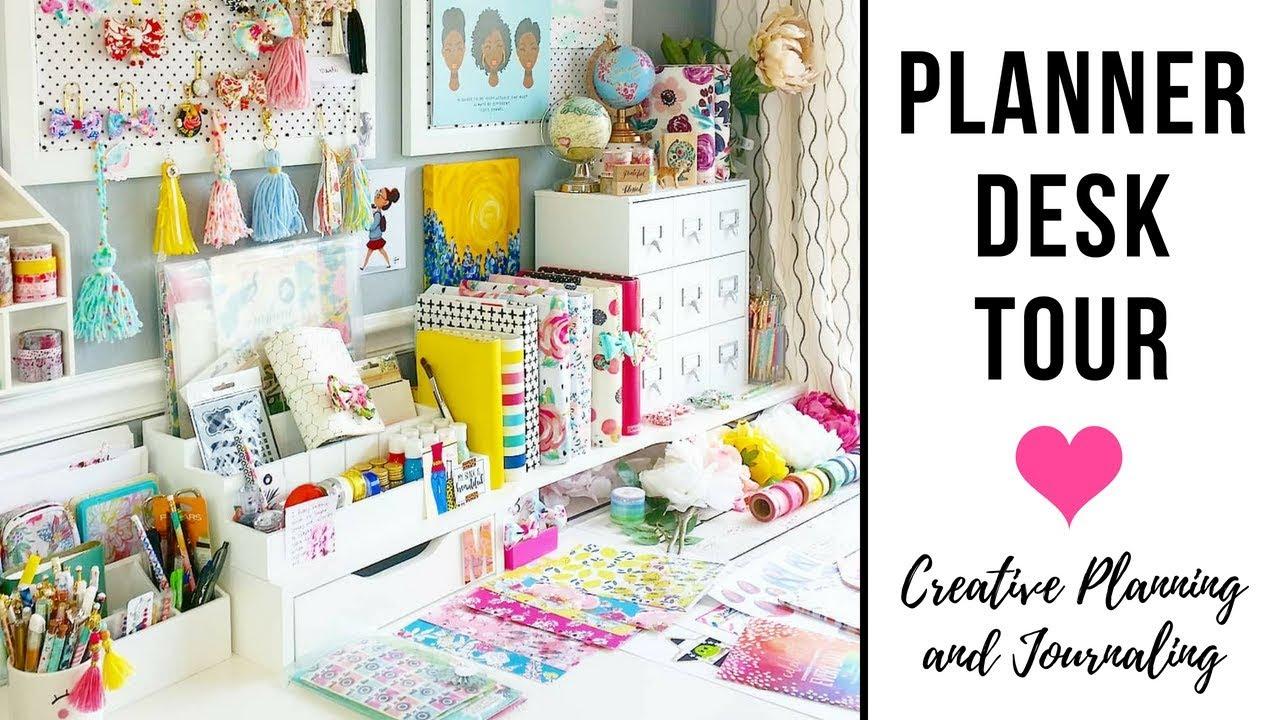 Planner Desk Tour Ikea Alex Drawers Craft Organization Cork Board Supply Organizing