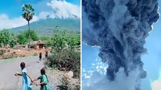 video: Thousands flee as Indonesian volcano bursts to life