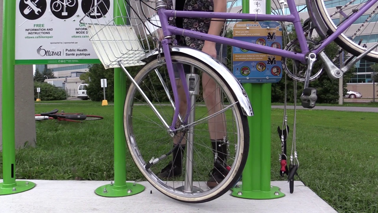 Bike Repair Station How To Pump A Tire Youtube