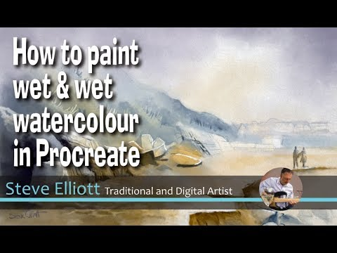 Step by step tutorial in how to paint wet in wet watercolour in Procreate