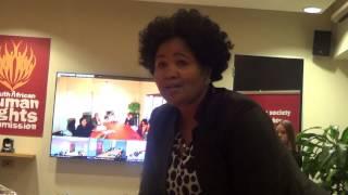 Chairperson of SAHRC Nehawu Nobesuthu Cekiso welcoming CEO Tseliso Thipanyane