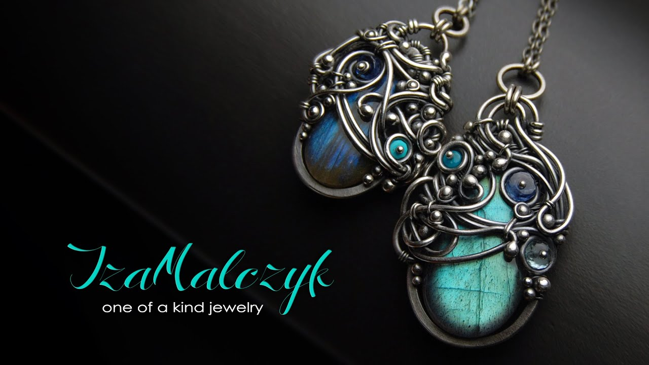 One of a kind silver wire wrapping jewelry by Iza Malczyk - YouTube