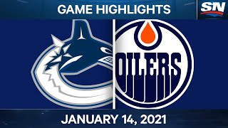 NHL Game Highlights | Canucks vs. Oilers - Jan. 14, 2021