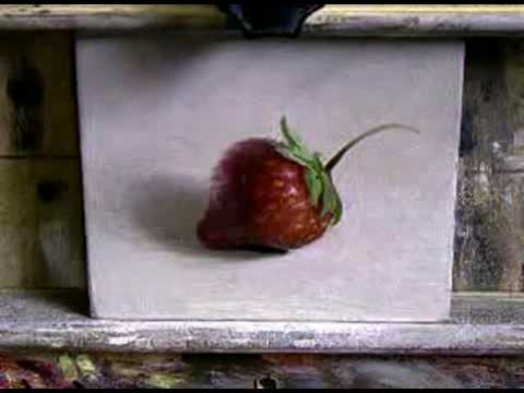Strawberry painting by dutch artist Jos van Riswick