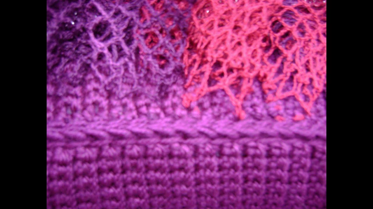 Crochet - Afghan or Tunisian Crochet - Complete Edge of Ruffle Added ...