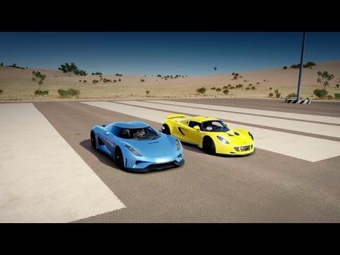 Hennessey VENOM GT vs. Koenigsegg REGERA Drag Race | Forza Horizon 3