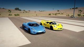 Repeat youtube video Hennessey VENOM GT vs. Koenigsegg REGERA Drag Race   Forza Horizon 3